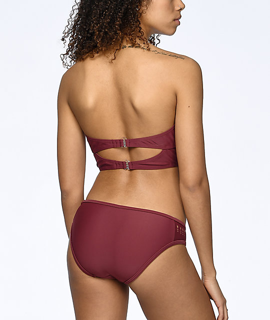 Malibu Surfs Up Burgundy Laser Cut Hipster Bikini Bottom
