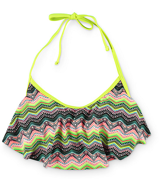 Malibu Tribal Wave Halter Lemon Flounce Bikini Top