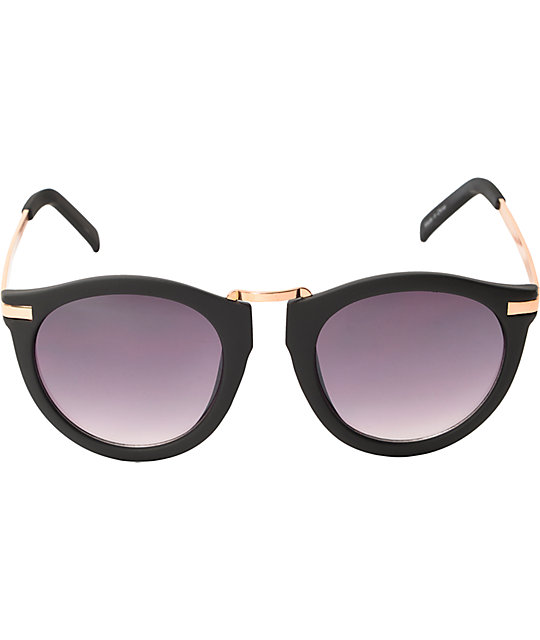 Marie Black & Gold Rounded Cat Eye Sunglasses