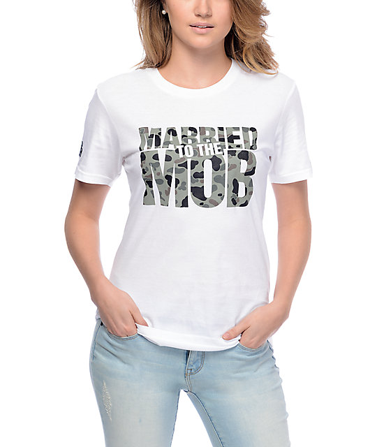 Married To The Mob Camo Logo White T-Shirt