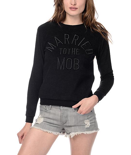 Married To The Mob Mali-Boo Black Crewneck Sweatshirt