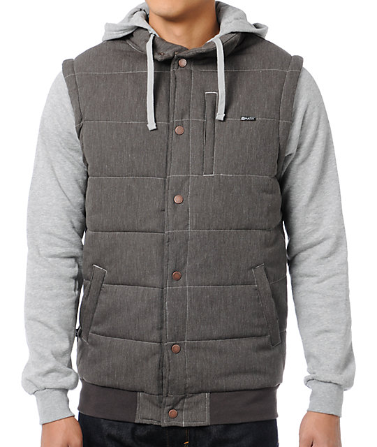 Matix Asher Chambray Brown Vest Hoodie