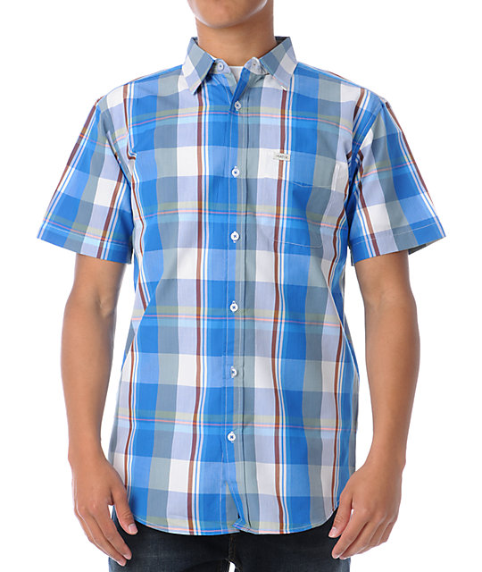 Matix Banker Blue Plaid Short Sleeve Button Up Shirt