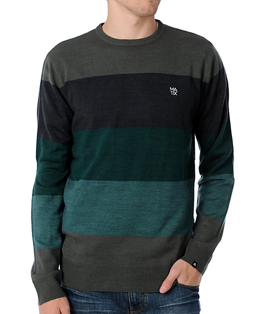 Matix Big Block Green Striped Crew Neck Sweater