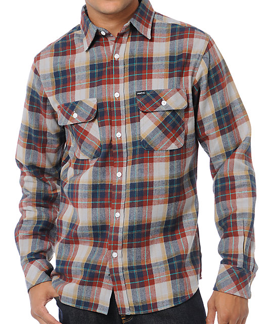 Matix Bronx Grey Plaid Flannel Shirt