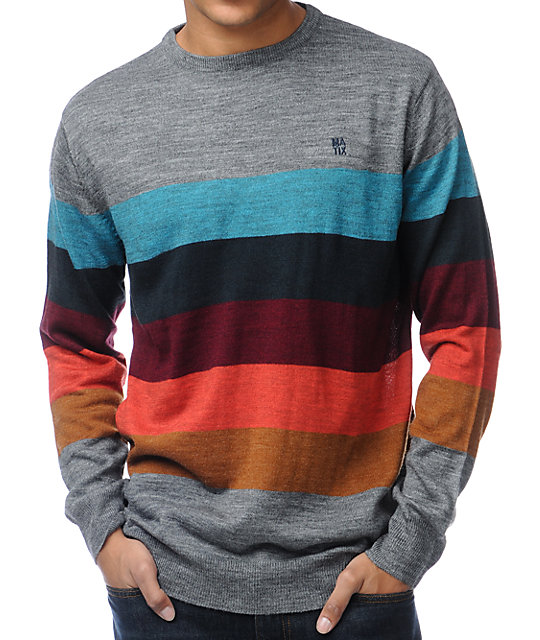 Matix Burbank Grey Striped Crew Neck Sweater