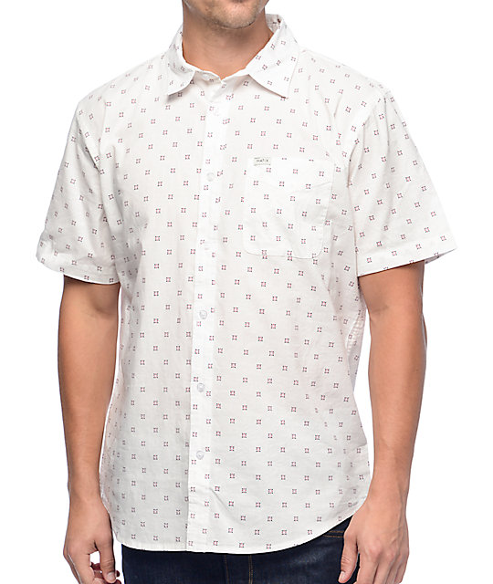 Burst Micro Geo White Button Up Shirt