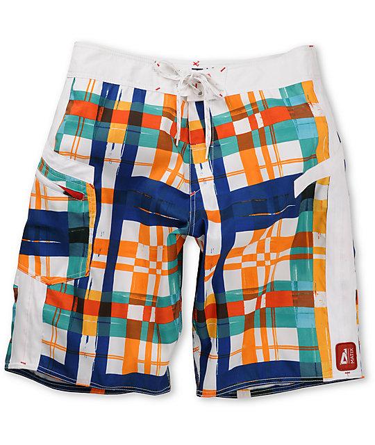 Matix Dingdong White Plaid Board Shorts