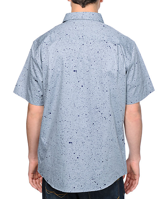 Matix Garage Splatter Blue Short Sleeve Button Up Shirt