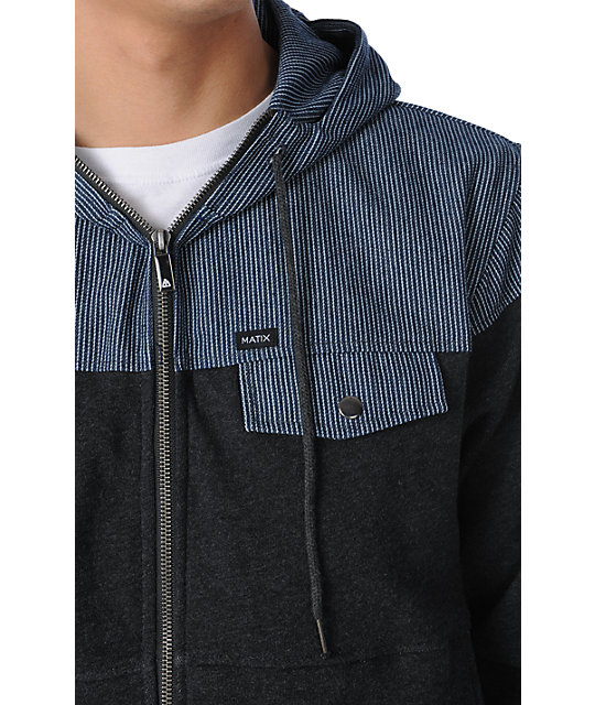 Matix Garefino Charcoal & Hickory Stripe Zip Up Hoodie