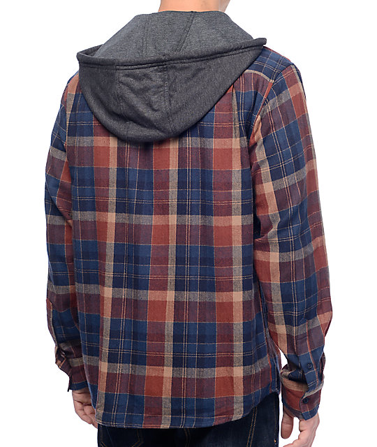 Matix Hargrove Navy & Red Hooded Flannel