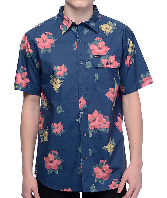 Matix Hawaiian Print Blue Short Sleeve Button Up Shirt