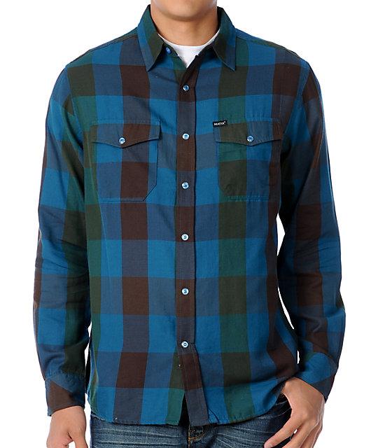 Matix marc johnson degree blue green plaid woven shirt for Blue and green tartan shirt