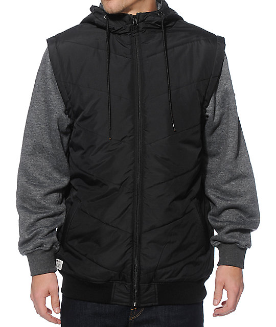 Max Chevron Zip Up Vest Hoodie