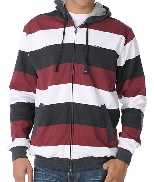 Matix Melby Ace White & Maroon Stripe Thermal Hoodie