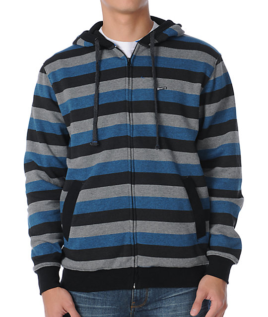 Matix Melby Indie Black, Blue & Grey Stripe Thermal Hoodie