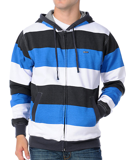 Matix Melby Mens White Wide Stripe Thermal Hoodie