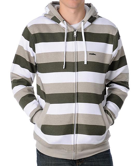 Matix Melby White Striped Sherpa Fleece Hoodie