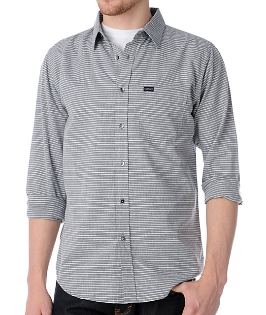 Matix Millpath Grey Pinstripe Long Sleeve Button Up Shirt