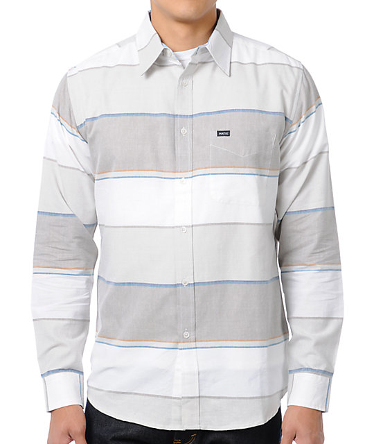 Matix Money Lines White Stripe Button Up Shirt