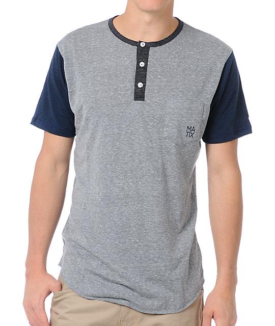 Matix Monostack Grey Premium Henley T-Shirt