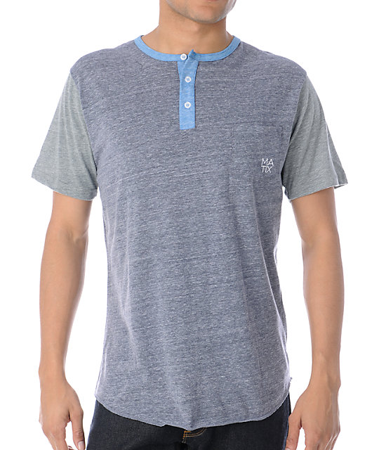 Matix Monostack Heather Charcoal Henley T-Shirt