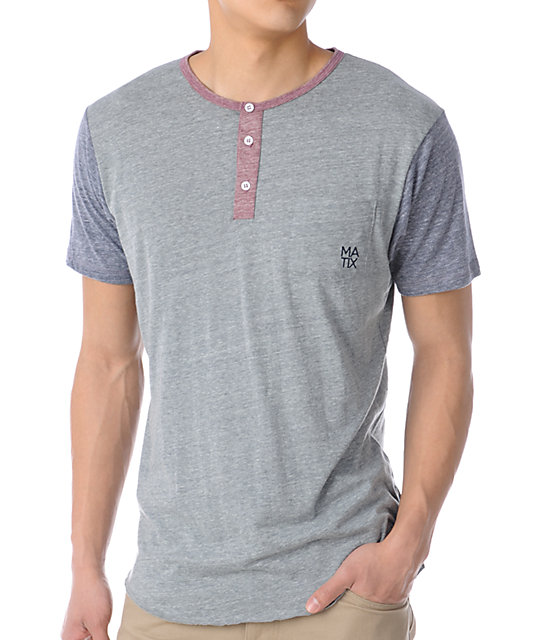 Matix Monostack Heather Grey Henley T-Shirt