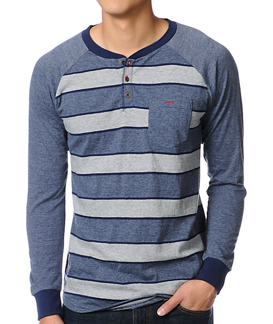 Matix Murphy Navy Stripe Long Sleeve Henley Shirt