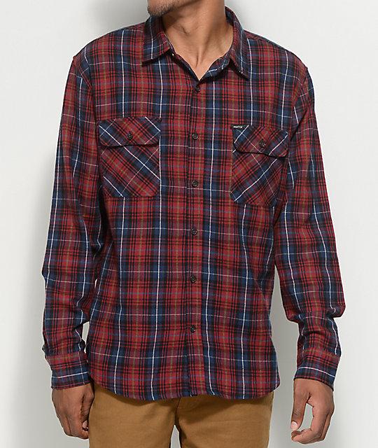 Matix pismo burgundy navy button up flannel shirt zumiez for Button up flannel shirts