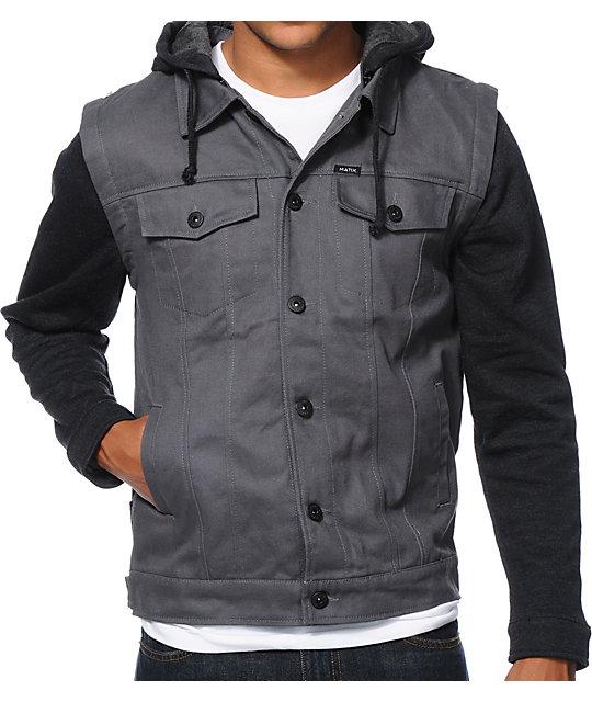 Matix Torent Charcoal Twill Vest Hoodie
