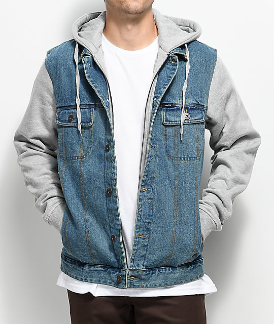 Matix Union Trucker 2Fer Light Denim & Grey Jacket | Zumiez