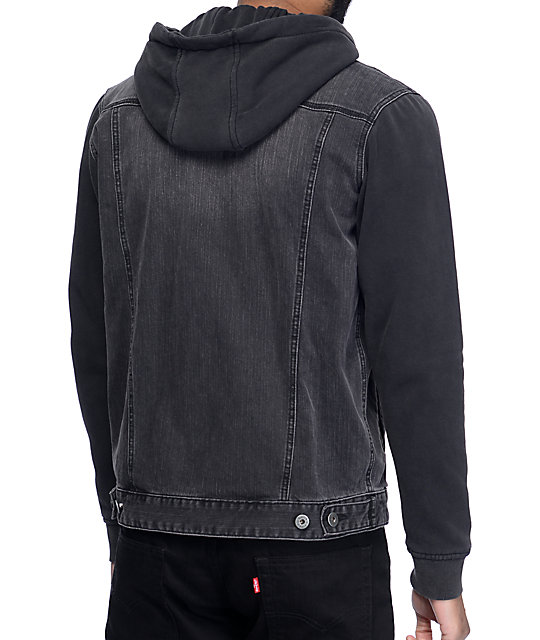 Matix Union Trucker Black & Charcoal Denim Fleece Jacket