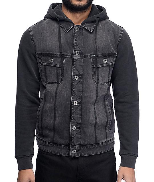 Matix Union Trucker Black & Charcoal Denim Fleece Jacket at Zumiez ...