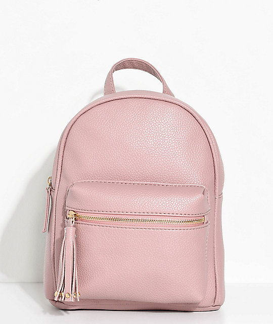 Mauve Faux Leather Mini Backpack