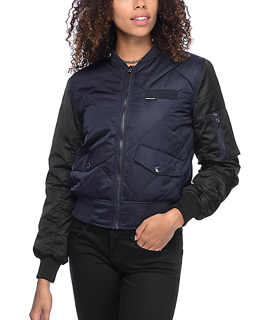 Members Only Navy & Black Quilted Bomber Jacket   Zumiez