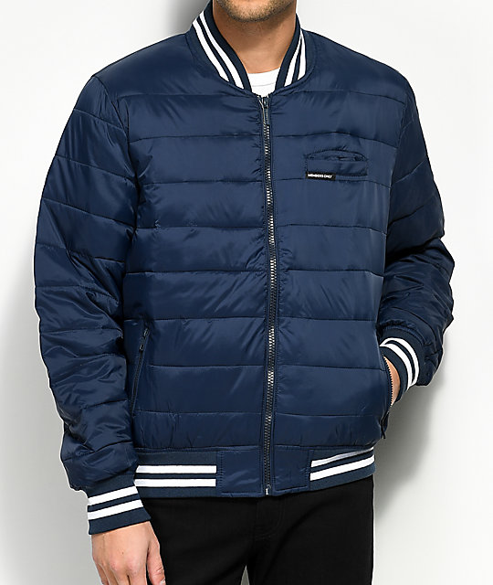 Only Puffer Navy Varsity Bomber Jacket