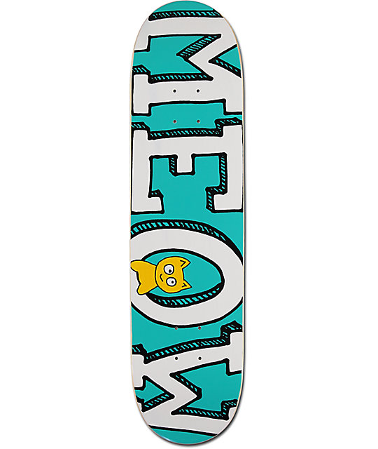 "Meow Skateboards Logo Teal 8.0"" Skateboard Deck"