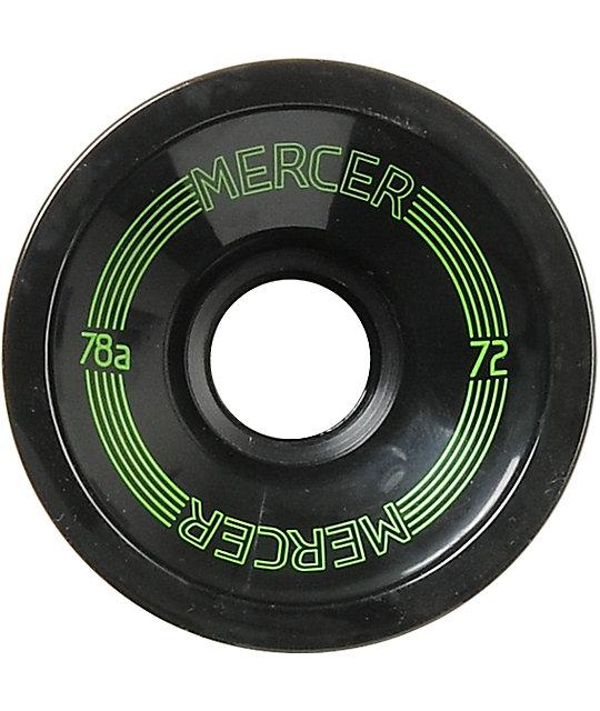 Mercer 72mm Black 78a Longboard Wheels