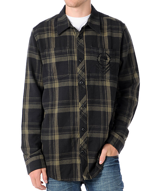Metal Mulisha Anarchist Black Plaid Woven Shirt