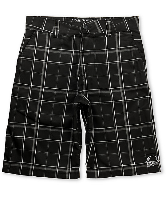 Metal Mulisha Arnold Black Plaid Shorts