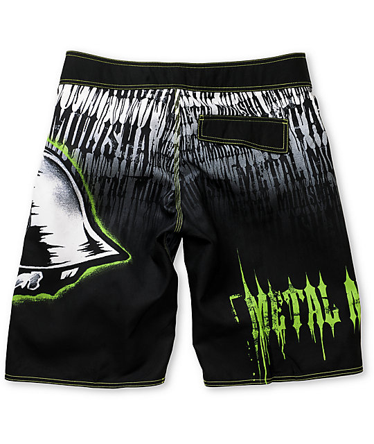 Metal Mulisha Blanched Black & Green Board Shorts