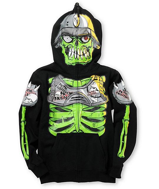 Metal Mulisha Boys Eyegore Black Full Zip Face Mask Hoodie