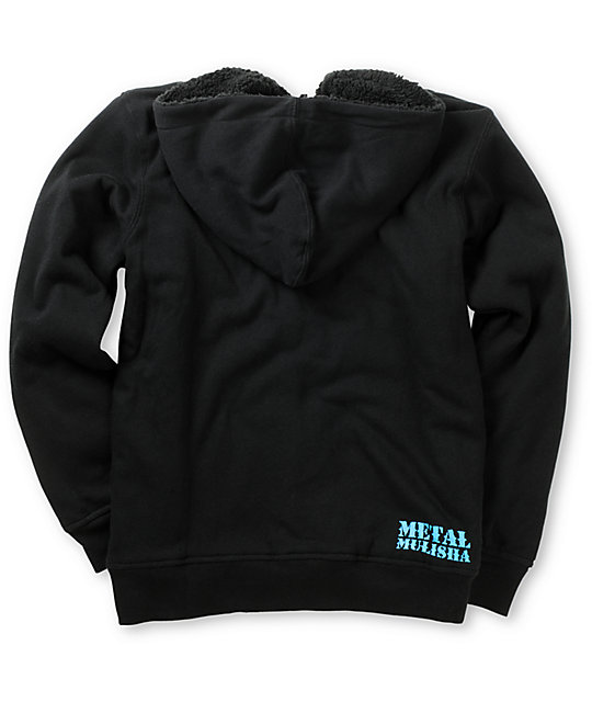 Metal Mulisha Boys Warrior Black & Blue Zip Up Hoodie