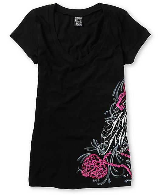 Metal Mulisha Dani G Reverie Black V-Neck T-Shirt