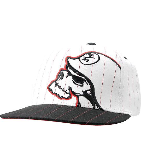 Metal Mulisha Dozer White & Black Pin Stripe Mens Flexfit Hat