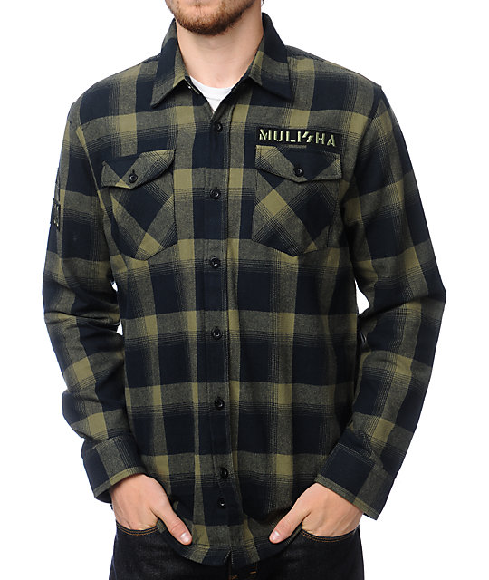Metal mulisha glide black green plaid flannel shirt at for Green and black plaid flannel shirt