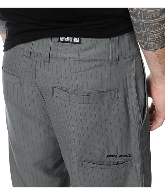 Metal Mulisha Gravel Charcoal Pinstripe Chino Shorts