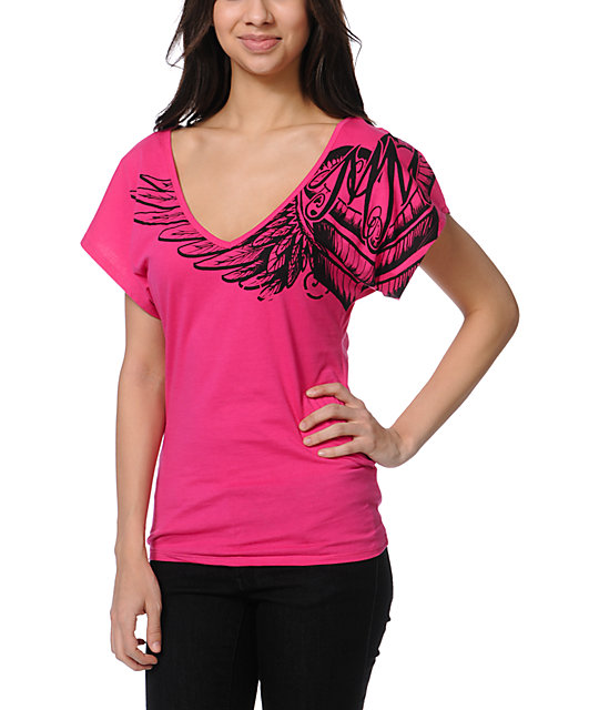 Metal Mulisha Kiki Pink Dolman V-Neck T-Shirt
