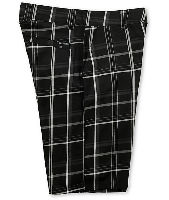 Metal Mulisha Laid Up Black Plaid Chino Shorts