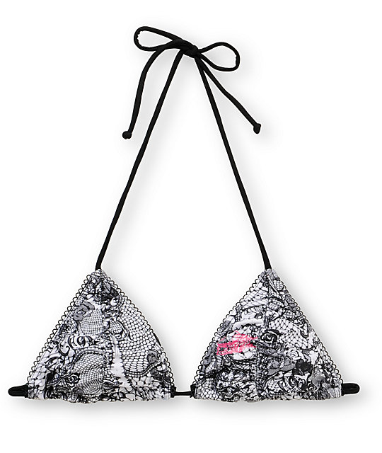 Metal Mulisha Layla Shirred Lace Triangle Bikini Top